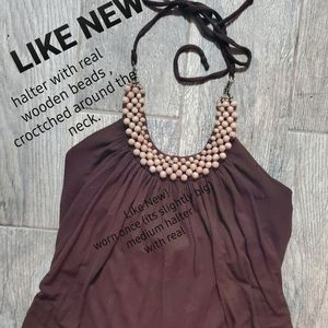 Tops - Like new. BROWN HALTER W REAL WOODEN BEADS necklin